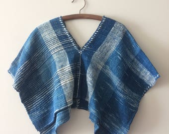 Hand spun cotton cropped top blouse, indigo dyed I summer striped ikat blouse - Saifon+Laitang
