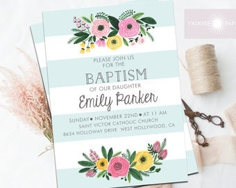 Baptism Invitation, Baptism, Christening, Christening Invite, Watercolor Invite, Floral Invite, Baptism Invite, Girl Baptism, jadorepaperie