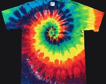 Adult Tie Dye Shirt Classic Rainbow Spiral