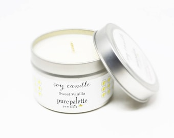 Soy Candle Sweet Vanilla Candle Travel Tin Candle Silver 4 oz Scented Candle Gift Drop Shipping Made in Virginia