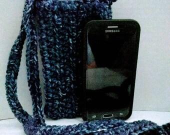 Crocheted denium cross body cell phone pouch