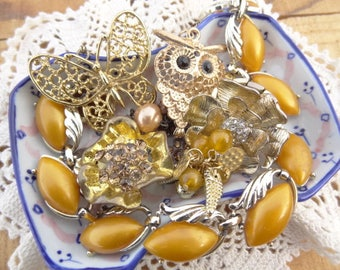 Vintage Jewelry Lot - Honey Lucite Necklace - Owl - Butterfly - Gold Dipped Leaves - Rhinestone - Mustard Vintage Jewelry Destash D130