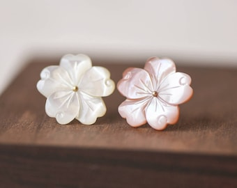 10pcs Mother of Pearl Shell Carved Flowers 20mm, Flat Back Center Drilled, White and Pink  (#V1293)