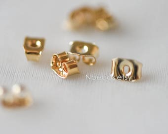 20pcs Gold plated Brass Ear Nuts, Earring Back Stoppers 5x3.5mm, Jewelry Findings Wholesale   (#GB-142)