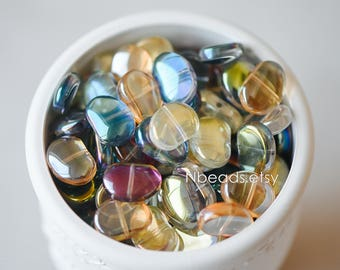 Crystal Glass Smooth Bean Beads 16mm, Sparkly Multi Colors (GM-028)/ 58 beads