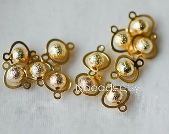 Gold plated Brass Connectors with Matte Round Beads, Lead Nickel Free (GB-151)