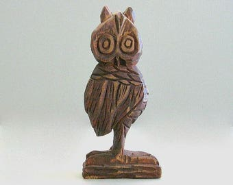 Hand Carved Wood Owl Decor Vintage Owl Figurine Brown Owl Sculpture Wooden Owl Statue Retro Owl Figure Hoot Owl Rustic Owl Wise Owl Handmade