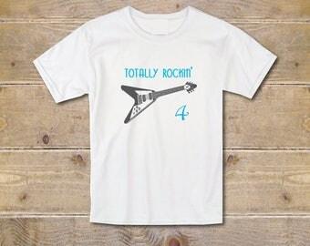 Guitar Birthday Shirt, Guitar Tee, Fourth Birthday T-Shirt, 4th Birthday Shirt, Guitar, Boy's Youth, Trendy, Graphic T-Shirt, Guitar