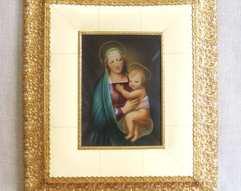 Vintage Religious Art, Hand Painted Print, Russian Icon, Madonna and Child, Celluloid and Metal Frame, Religion, Mary and Christ, Jesus Art