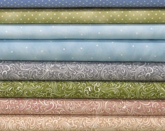 Swirls & Dots Bundle of 8 Fat Quarters, Cotton Quilt Fabric Bundle, Fat Quarter Bundle, Blender