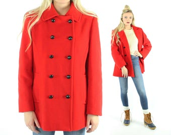 80s Mackintosh Pea Coat Red Wool Double Breasted Peacoat Vintage 1980s Large L Preppy Military Christmas Holiday Valentines Day Jacket