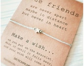 Adjustable waxed cord wish bracelet with star charm - friends bracelet - friendship jewelry - make a wish - dutchpearl