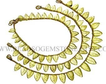 Gemstone Beads, Lemon Quartz Faceted Carved Leaf (Quality A) / 6x8 to 7.5x13 mm / 18 cm / LEM-038