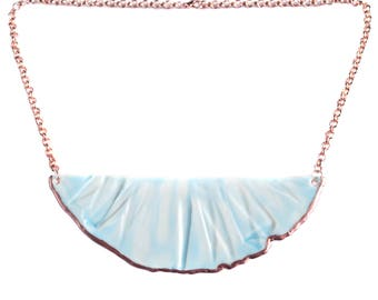 RUCHED No4 artisan celadon blue porcelain bib necklace, rose gold accent, rose gold chain, rose gold jewellery, rose gold necklace