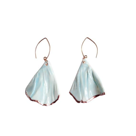 RUCHED No6 artisan celadon blue porcelain earrings, rose gold earrings, rose gold vermeil wires