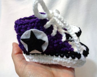 RESERVED Crochet Baby Converse Booties, Baby Shower Gift, Purple Baby Converse Tennis Shoes, Size 3 to 6 Months, Infant Sneakers