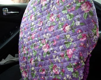 Purple Quilted Steering Wheel Cover, Gift for Mom, Present for Grad, Steering Wheel Protector, Keep Cooler Cover, Crochet Edging, Removable