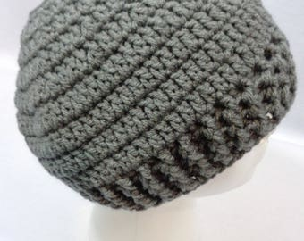 Ponytail Hat, Gray Messy Bun Cap, Winter Wear by Charlene, Unisex Beanie, Gift for Teen, Present for Busy Mom, MADE TO ORDER by Charlene