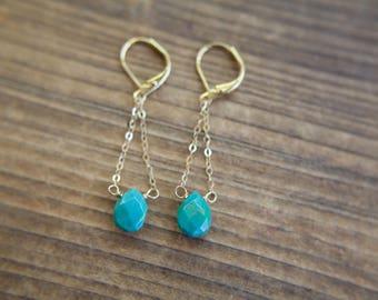 Turquoise Gemstone Pendulum Earrings // Turquoise Drop Earrings // Bridesmaid Gift // One of A Kind // Sleeping Beauty Turquoise // 14K Gold
