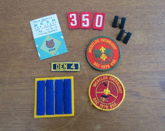 1970s Boy Scout Cub Scout Lot - Patches Insignia Pins Membership Card - Webelos Aberdeen MD