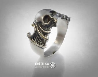 GOTHIC Creepy Gargoyle BAT Skull wings Ring Sterling 925
