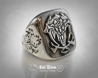 CERBERUS the hell hound loyal of Satan big solid sterling silver By Ezi Zino ring