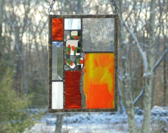 Funky abstract art stained glass panel suncatcher, lime green orange, window decoration, modern contemporary, small panel