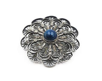 "Sterling Silver Filigree Sodalite Brooch - Sterling Brooch, Blue Stone, Vintage Brooch, Antique Jewelry, Size 1.75"" Wide"