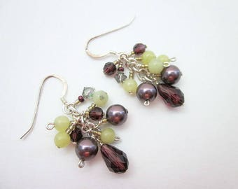 Green & Purple Dangles -- Peridot Green Earrings -- Bead Cluster Earrings -- Lime Bead Earrings -- Pearl and Jade Earrings -- Gem Clusters