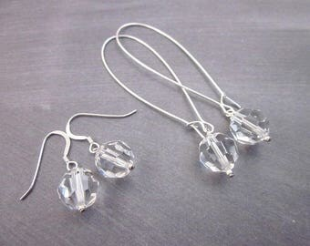 Clear Crystal & Silver Earrings -- Clear Crystal Drop Dangles -- Sparkling Bridal Earrings -- Swarovski Clear Bead Earrings -- Clear Drops