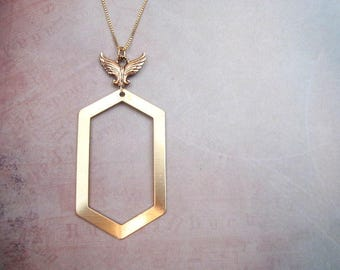 Hexagon Necklace -- Long Geometric Pendant Necklace -- Wing & Brass Necklace -- Women's Trendy Gold Necklace -- Brass Hexagon Necklace