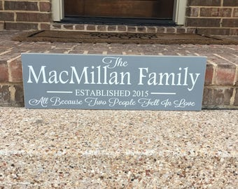 All Because Two People Fell In Wooden Sign~Last Name Sign~Wedding Gift~Anniversary Gift~Year Established Sign~Personalized Last Name Family