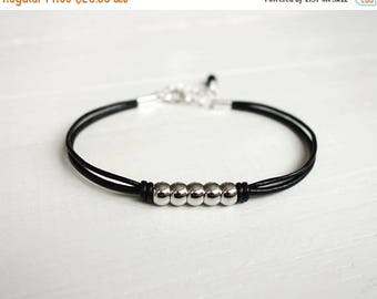 Summer Sale Metal bead bracelet black leather bracelet five metal beads black cord bracelet for men for women