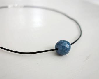 Thin leather necklace blue bead choker single bead necklace leather choker for women