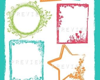 65%OFF SALE Floral frames clipart, floral photo frame, floral digital frame, Photoshop brushes, flourished frame clipart, star frame, altere