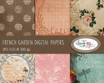 50%OFF French garden digital papers, featuring vintage textured digital backgrounds for commercial use - Instant download, P20