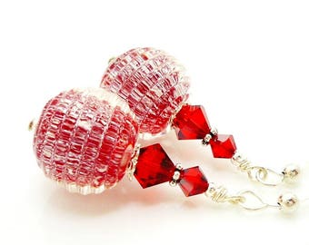 Red Earrings, Sparkle Earrings, Lampwork Earrings, Glass Bead Earrings, Unique Earrings, Unusual Earrings, Glass Earrings,Christmas Earrings