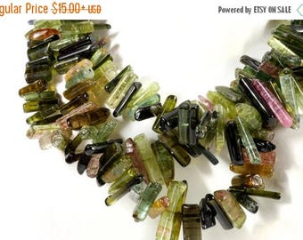 ON SALE Tourmaline Crystals Beads Mixed Color Smooth Polished Crystal Sticks Mined Gems - 4 Inch Strands -  5x4 to 8x3mm or 8x3 to 14x3mm