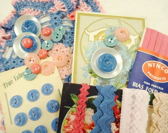 Cottage Chic Notions Keepsake Collection Button Card Mix Shades Of Pink Blue Sewing Buttons Crafty Lace Trims Doily DIY Inspiration Lot