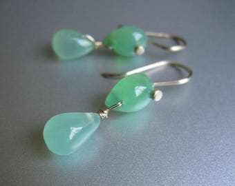 Green Chrysoprase Double Drop Solid 14k Gold Earrings
