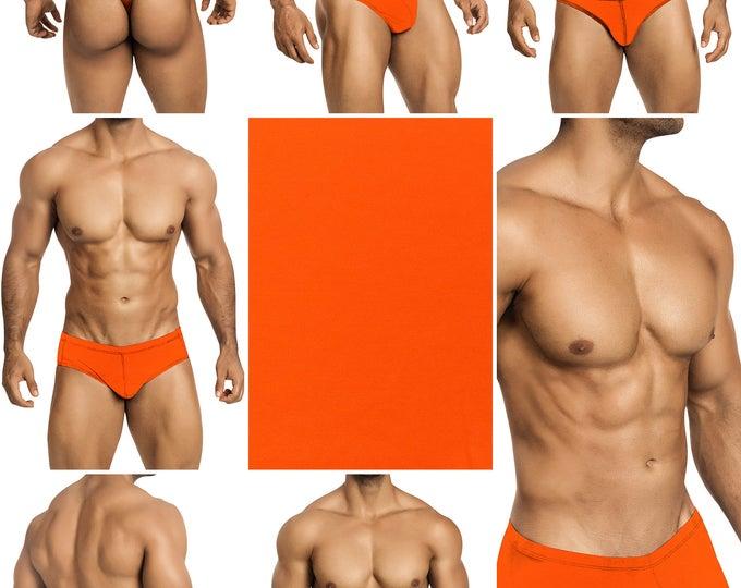 Screaming Neon Orange Swimsuits for Men by Vuthy Sim.  Choose Thong, Bikini, Brief, Squarecut - 194