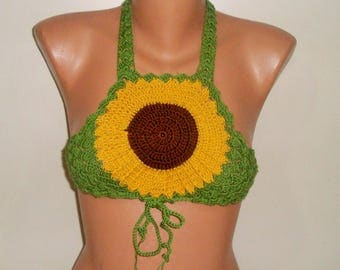 Festival clothing women Crochet sunflower festival top, music festival women top, gypsy, rave, coachella, rave outfit clothing clothes