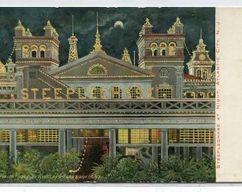 Steeplechase Amusement Park at Night Atlantic City New Jersey 1907c postcard