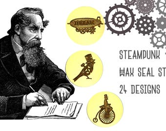 SteamPunk Wax Seal Stamps - 24 Designs to Choose From