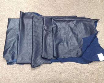 OSM841. Package of 5 Navy Blue Laser Etched Leather Lambskins
