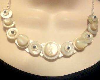 Vintage Luster button necklace