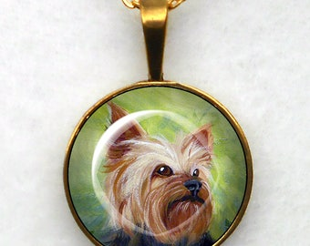 Gold Yorkshire Terrier Necklace ~  Yorkie Necklace ~ Pet Keepsake ~ July Birthday ~ Gifts for Her