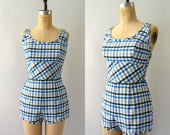 Vintage 1950s Playsuit - 50s Blue Check Cotton Romper Sunsuit Swimsuit