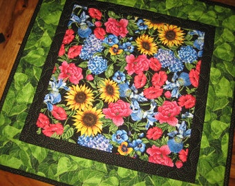 """Sunflower, Roses, Iris and Pansies Summer Quilted Table Topper, 21 x 21"""" 100% cotton fabrics Reversible"""