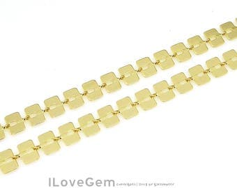 1 meter, BC-003, Gold, 6mm Square Chain, Flat Rectangle chain, Handmade Unique Chain for Bracelet, Design Chain